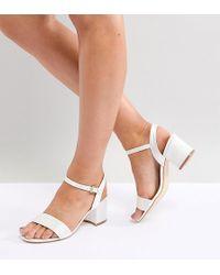 London Rebel - Wide Fit Bridal Block Heeled Sandals - Lyst