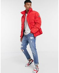 Pull&Bear Padded Puffer Jacket - Red