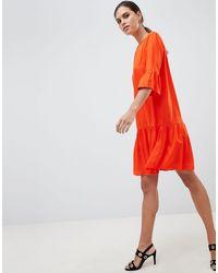 Y.A.S Robe courte à manches évasées et ourlet plongeant - Orange