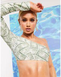 ASOS Top bikini monospalla con dollari stampati - Blu