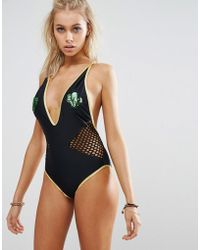 Jaded London - Sequin Cactus Plunge Swimsuit - Lyst