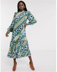 Never Fully Dressed Платье Мидакси А-силуэта С Контрастным Принтом Зеленого Цвета -мульти - Многоцветный