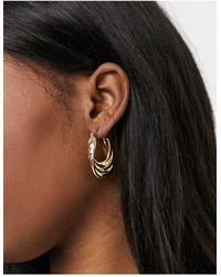 Monki Debra Tiered Hoop Earrings - Metallic