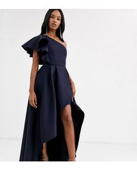 True Violet Frill One Shoulder High Low Prom Maxi Dress In Navy - Blue