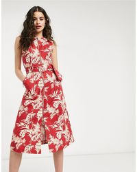 Oasis Midi Dress - Red