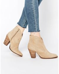 ASOS Ranch Suede Western Boots - Natural