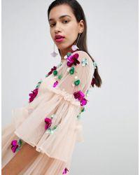 ASOS - Asos Embellished Mesh Fluted Sleeve Smock Mini Dress - Lyst