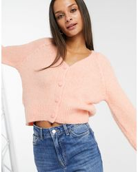 ONLY Knitted Cardigan With Balloon Sleeve - Pink