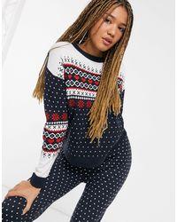 Brave Soul Fairisle Trousers Christmas Set - Blue
