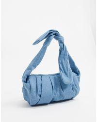 Glamorous Unstructured Satin Knot Handle Baguette Grab Bag - Blue
