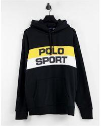 Polo Ralph Lauren - Худи В Стиле Ретро С Полосками И Логотипом На Груди Sport Capsule Retro-черный Цвет - Lyst