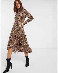 Vila Zebra Print Ruffle Skirt Midi Dress-multi - Brown