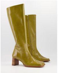 ASOS Cali Premium Leather Heeled Knee Boots - Green