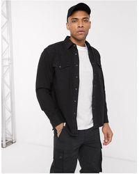 Pull&Bear Western Denim Shirt With Raw Hem - Black