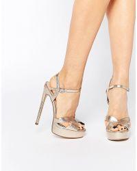 Lost Ink Ritz Gold Platform Heeled Sandals - Gold - Metallic