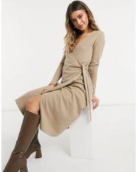 ASOS - Vestito midi a portafoglio super morbido color cammello - Lyst