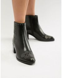Dune - London Queenies Black Leather Studded Mid Heel Ankle Boots - Lyst