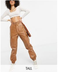 Missguided Faux Leather Cargo Trouser - Brown