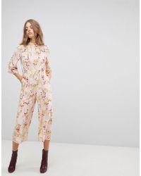 Vero Moda - Floral Cropped Jumpsuit - Lyst