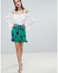 River Island - Floral Print Ruffle Front Wrap Skirt - Lyst