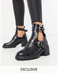 SIMMI Shoes Черные Массивные Ботинки С Вырезами Simmi London-черный