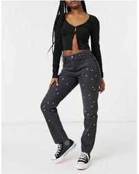 Urban Bliss Mom jeans decorati nero slavato