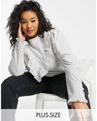 Simply Be Poplin Blouse With Ruffle Neck - Multicolour