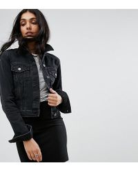 ASOS - Denim Shrunken Jacket In Washed Black - Lyst