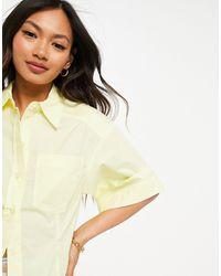 Mango Short Sleeve Poplin Shirt Co-ord - Yellow