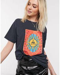 Daisy Street T-shirt décontracté à imprimé tarot - Noir