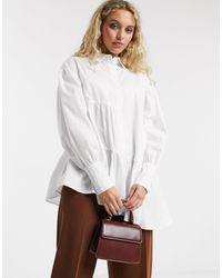TOPSHOP Tiered Poplin Shirt - White
