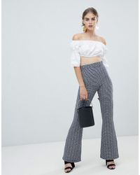 ASOS - 70s Geo Jacquard Flare Pants - Lyst