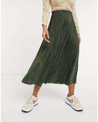 ASOS Plisse Full Midi Skirt - Green
