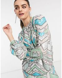 ASOS Aztec-style Multi-colored Embellished Long Sleeve Top Two-piece - Blue