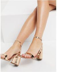 ASOS Hudson - Sandales minimalistes à talon carré - Or rose - Métallisé