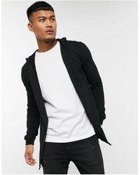 ASOS Muscle Hooded Jersey Cardigan - Black