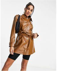 ASOS Светло-коричневая Рубашка-куртка Из Искусственной Кожи - Коричневый