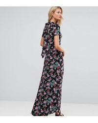 ASOS Maxi-jurk Met Opengewerkte Rug In Bloemenprint - Zwart