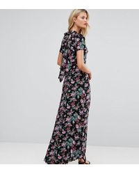 ASOS Vestido largo con espalda desestructurada y estampado floral - Negro
