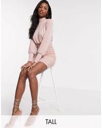 John Zack Эксклюзивное Розовое Платье Мини С Присборенной Юбкой -розовый