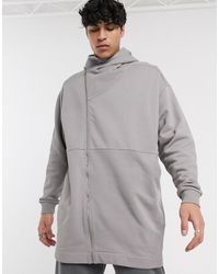 ASOS Lang Oversized Jersey Jack Met Asymmetrische Rits En Opstaande Kraag - Grijs