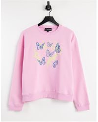New Girl Order Oversized Sweatshirt With Butterfly Graphic - Pink