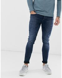 Only & Sons Loom Dark Blue Wash Jeans In Slim