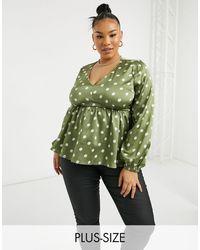 Simply Be Шалфейно-зеленая Атласная Блузка В Горошек С Баской -зеленый Цвет