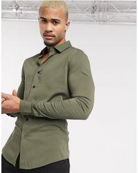 ASOS Camicia attillata kaki - Verde
