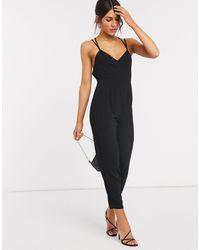 ASOS Strappy Back Peg Jumpsuit - Black