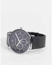 ASOS Mesh Watch With Silver Case And White Highlights - Black