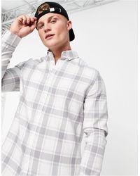 ASOS Camisa de cuadros de corte estándar en gris de