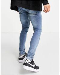 Brave Soul Jeans skinny azzurri con strappi e rammendi - Blu