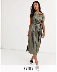 Y.A.S Petite Metallic Sleeveless Wrap Dress With Tie Waist - Black
